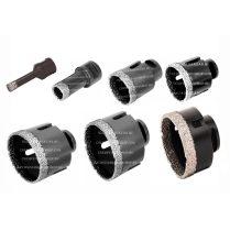 Gyémánt lyukfúró készlet sarokcsiszolóra száraz, vagy vizes fúrás D10-20-35-45-50-68-83 mm (351500e)