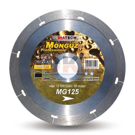 Diatech gyémánttárcsa MONGÚZ csempe, greslap, járólap vágására  125x1,2x22,2x5 mm (mg125)